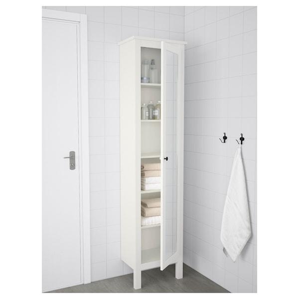 HEMNES Høyskap med speildør, hvit, 49x31x200 cm