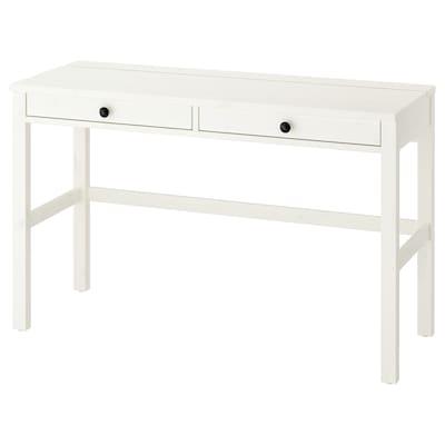 HEMNES Skrivebord med 2 skuffer, hvit beis, 120x47 cm