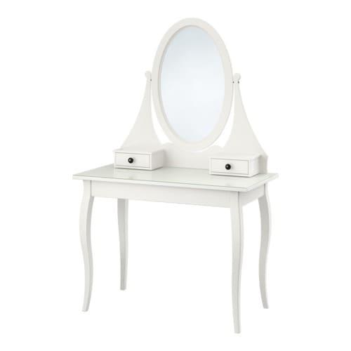 HEMNES Toalettbord med speil, hvit Bredde: 100 cm Dybde: 50 cm Høyde: 159 cm