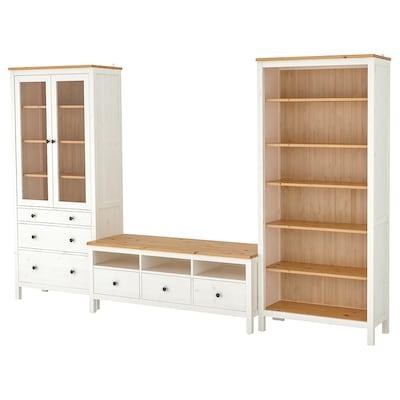 HEMNES Tv-møbel, kombinasjon, hvit beis/lys brun klart glass, 326x197 cm