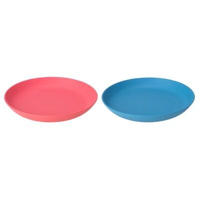 HEROISK Tallerken, blå/lys rød, 19 cm