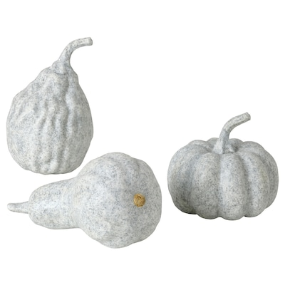 HÖSTKVÄLL Dekorasjon, gresskar, 3 stk., grå