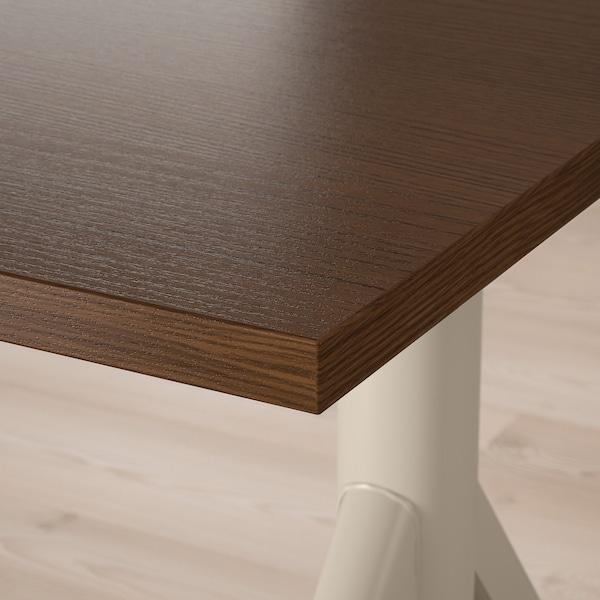 IDÅSEN Arbeidsbord sitte/stå, brun/beige, 160x80 cm