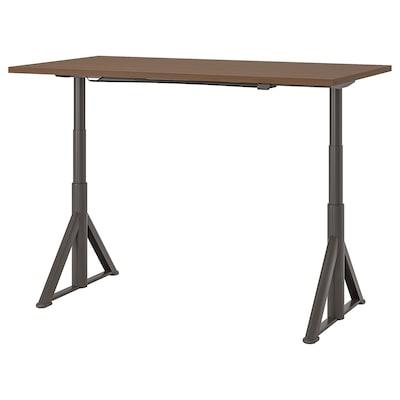 IDÅSEN Arbeidsbord sitte/stå, brun/mørk grå, 160x80 cm