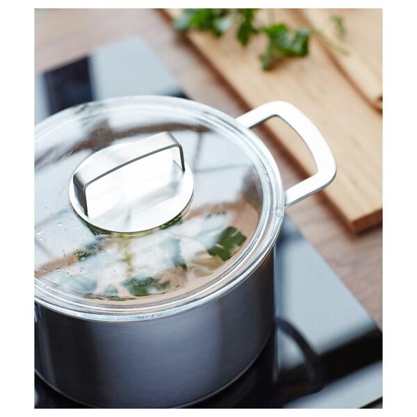 IKEA 365+ Gryte med lokk, rustfritt stål/glass, 5 l