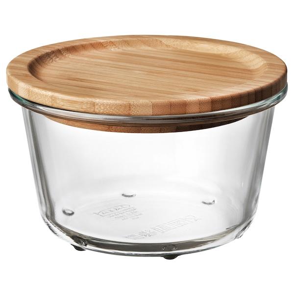 IKEA 365+ Matoppbevaring med lokk, rundt glass/bambus, 600 ml