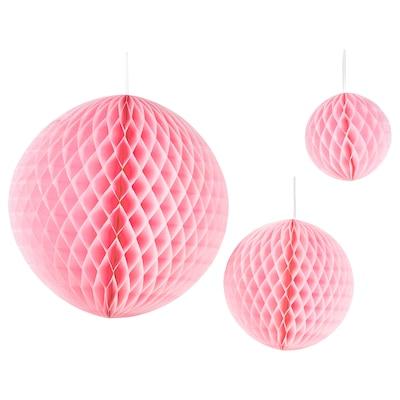 INBJUDEN Dekorasjon, 3 stk., ball rosa