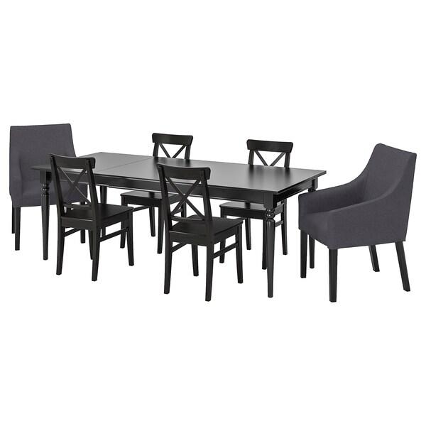 INGATORP / INGOLF Bord og 6 stoler, svart/Sporda mørk grå, 155/215x87 cm