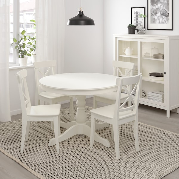 INGATORP Uttrekkbart bord, hvit, 110/155 cm