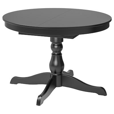 INGATORP Uttrekkbart bord, svart, 110/155 cm