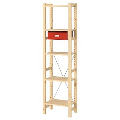 IVAR 1 seksjon/hyller/skuffer, furu/rød, 48x30x179 cm