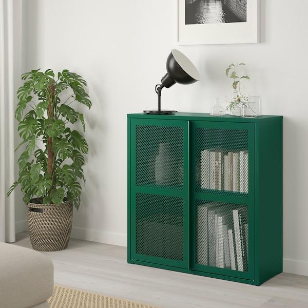 IVAR Skap med dører, grønn nett, 80x83 cm