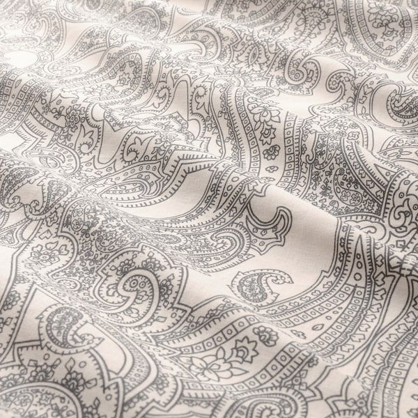 JÄTTEVALLMO Dynetrekk og 2 putevar, beige/mørk grå, 240x220/50x60 cm