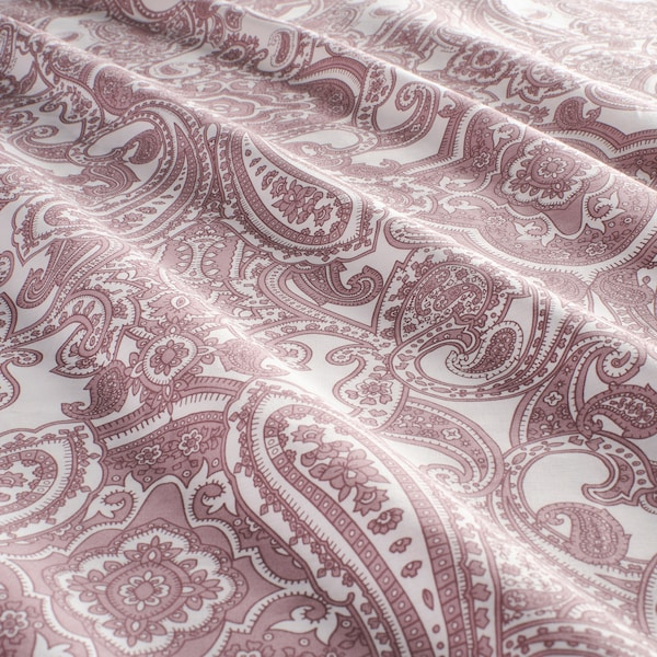 JÄTTEVALLMO Dynetrekk og 2 putevar, hvit/mørk rosa, 240x220/50x60 cm