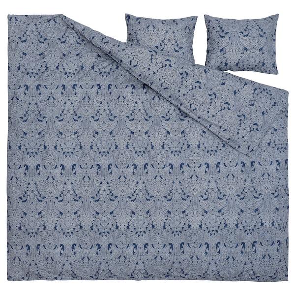 JÄTTEVALLMO Dynetrekk og 2 putevar, mørk blå/hvit, 240x220/50x60 cm