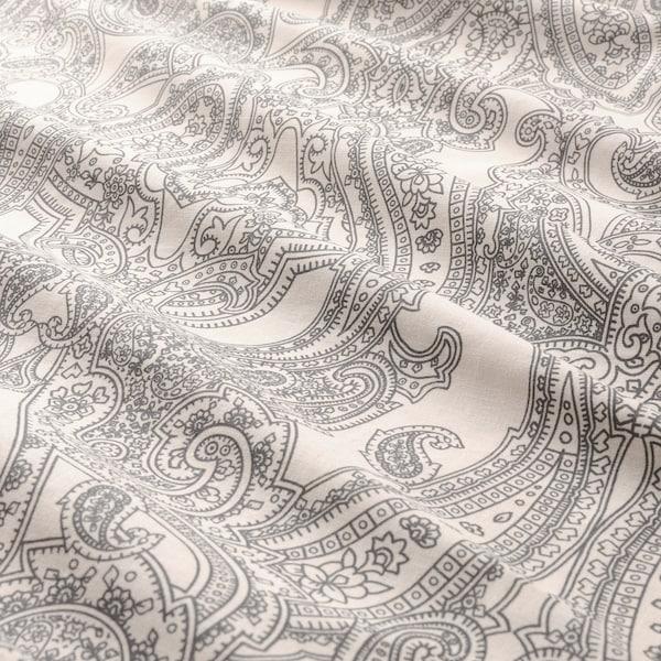 JÄTTEVALLMO Dynetrekk og putevar, beige/mørk grå, 150x200/50x60 cm