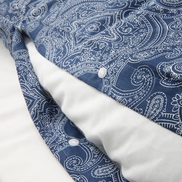 JÄTTEVALLMO Dynetrekk og putevar, mørk blå/hvit, 150x200/50x60 cm