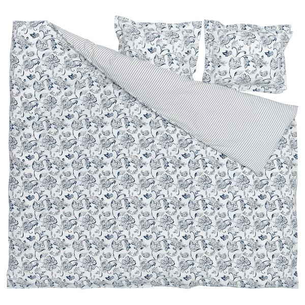 JUNIMAGNOLIA Dynetrekk og 2 putevar, hvit/mørk blå, 240x220/50x60 cm