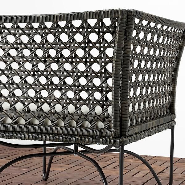 JUTHOLMEN 2-seters modulsofa, utendørs, mørk grå/Kuddarna beige, 146x73 cm