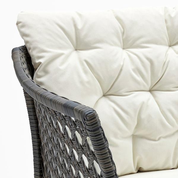 JUTHOLMEN 3-seters modulsofa, utendørs, mørk grå/Kuddarna beige, 210x73/138 cm
