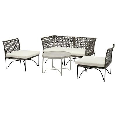 JUTHOLMEN 4-seters møbelgruppe, utendørs, mørk grå/Kuddarna beige