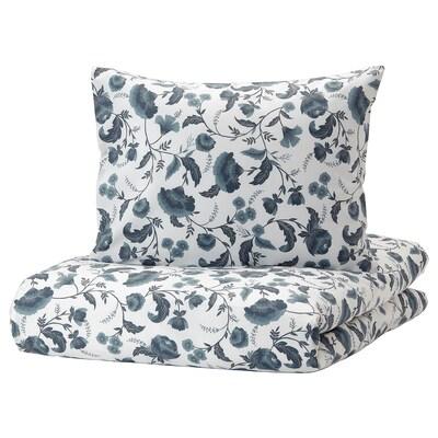 KÄLLFRÄNE Dobbelt sengesett, hvit/blå, 240x220/50x60 cm