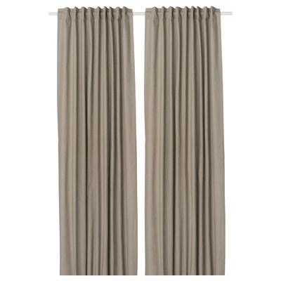 KALKFLY Lysdempende gardiner, mørk beige, 145x250 cm