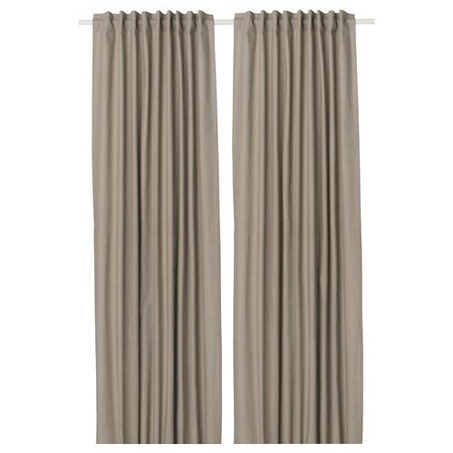 KALKFLY lysdempende gardiner mørk beige 250 cm 145 cm 1.53 kg 3.63 m² 2 stk.