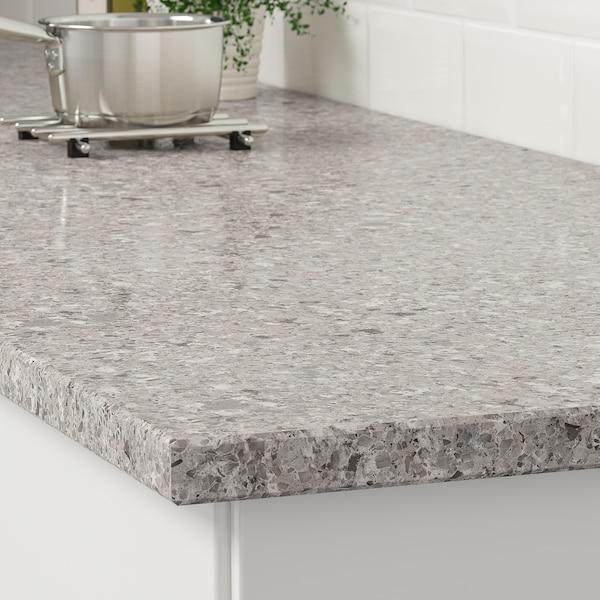KASKER Spesialtilpasset benkeplate, grå/brun mineralmønstret/kvarts, 1 m²x3.0 cm