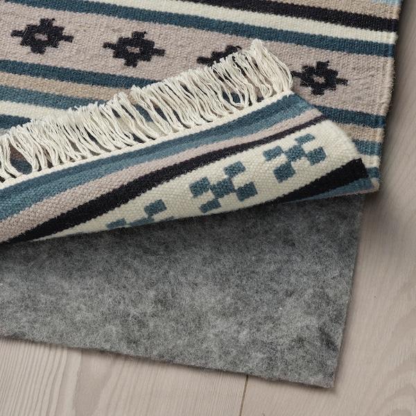 KATTRUP Teppe, flatvevd, håndlaget/blå, 75x150 cm