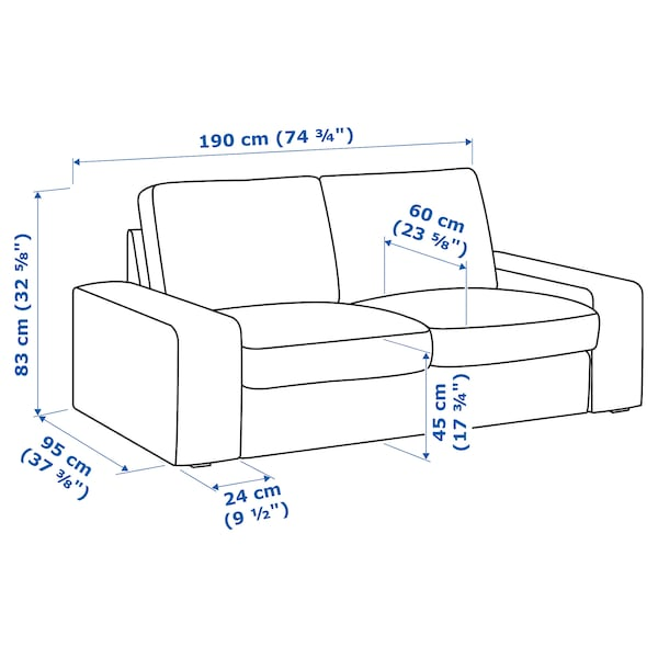 KIVIK 2-seters sofa, Skiftebo mørk grå