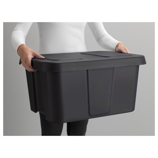 KLÄMTARE Boks med lokk, inne/ute, mørk grå, 58x45x30 cm