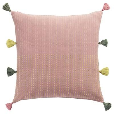 KLARAFINA Putetrekk, håndlaget rosa/grønn, 50x50 cm