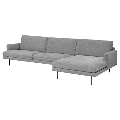 KLINTORP 4-seters sofa, med sjeselong, høyre grå