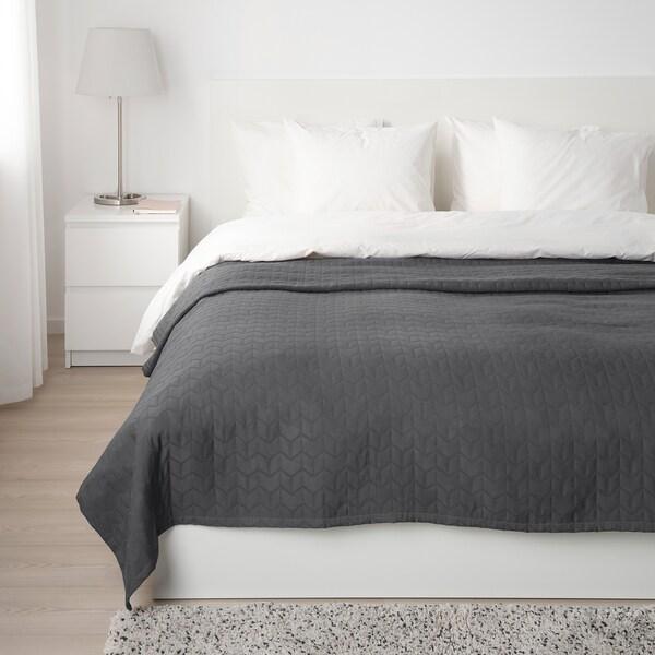 KÖLAX Sengeteppe, grå, 230x250 cm