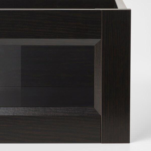 KOMPLEMENT skuff med innrammet glassfront brunsvart 50 cm 58 cm 42.8 cm 56.9 cm 16.0 cm 40.1 cm 53.3 cm