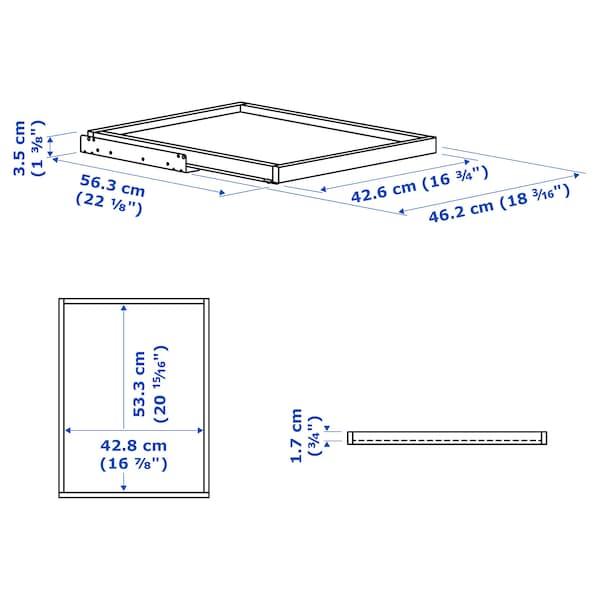 KOMPLEMENT Uttrekkbar hylleplate, hvitbeiset eikemønster, 50x58 cm