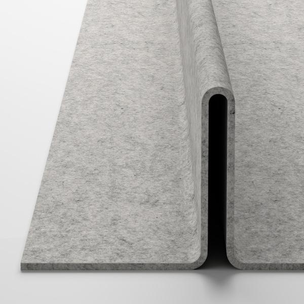 KOMPLEMENT Uttrekkbart brett med skoinnsats, hvitbeiset eikemønster/lys grå, 50x35 cm