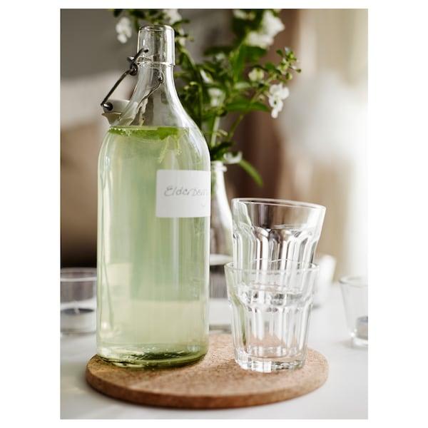 KORKEN Flaske m kork, klart glass, 1 l