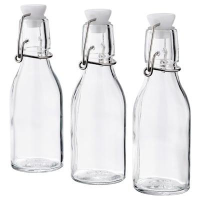 KORKEN Flaske m kork, klart glass, 15 cl