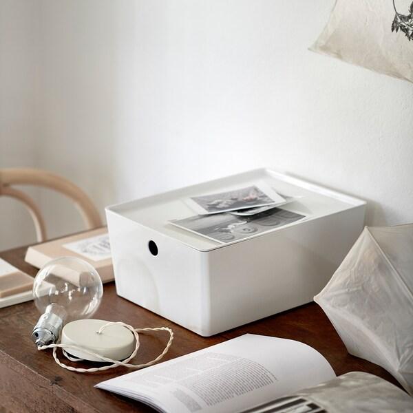 KUGGIS kasse med lokk hvit 26 cm 35 cm 15 cm