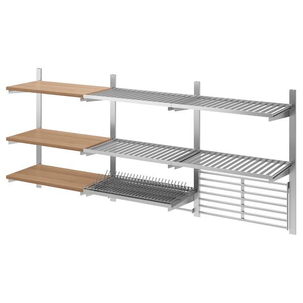 KUNGSFORS Skinne/hylle/tørkestativ/stang/ribb, rustfritt stål/ask