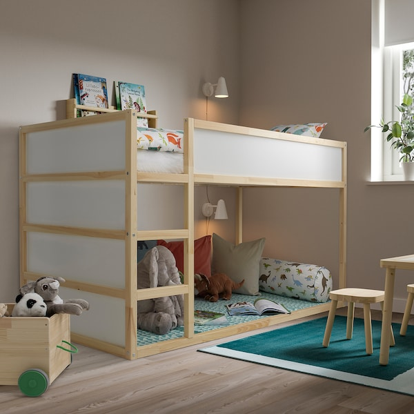 KURA Vendbar seng, hvit/furu, 90x200 cm