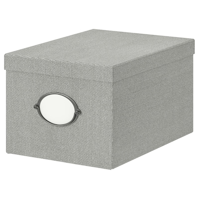 KVARNVIK Eske med lokk, grå, 25x35x20 cm