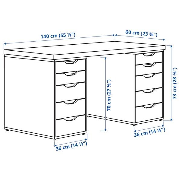 LAGKAPTEN / ALEX Arbeidsbord, brunsvart/hvit, 140x60 cm