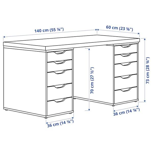 LAGKAPTEN / ALEX Arbeidsbord, hvit/gråturkis, 140x60 cm