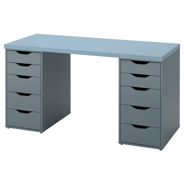 LAGKAPTEN / ALEX Arbeidsbord, lys blå/gråturkis, 140x60 cm