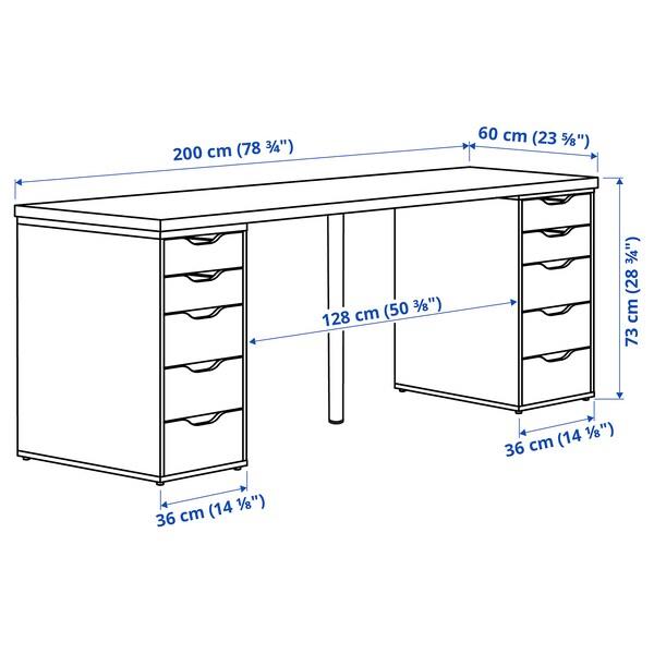 LAGKAPTEN / ALEX Arbeidsbord, mørk grå/brunsvart, 200x60 cm