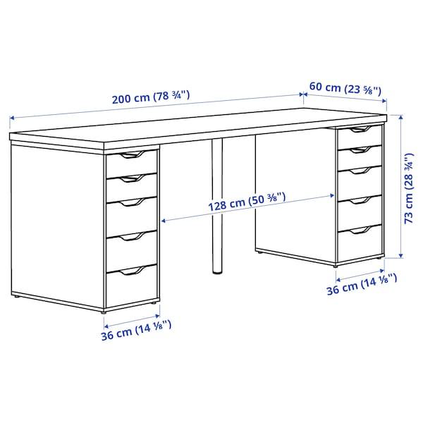 LAGKAPTEN / ALEX Arbeidsbord, mørk grå/hvit, 200x60 cm