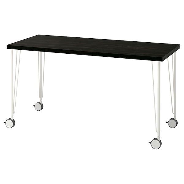 LAGKAPTEN / KRILLE Arbeidsbord, brunsvart/hvit, 140x60 cm